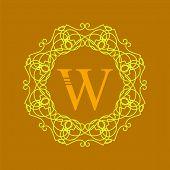 foto of monogram  - Simple  Monogram W Design Template on Orange  Background - JPG