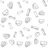foto of drawing beer  - doodle beer glasses pattern - JPG