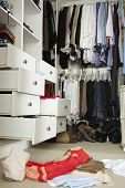 stock photo of wardrobe  - Untidy Teenage Bedroom With Messy Wardrobe - JPG