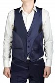 picture of vest  - Blue mens vest part of a wedding suit isolated on white background - JPG