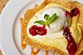 foto of ice-cake  - A slice of cake with jam ice cream - JPG