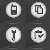 pic of tasks  - Mobile phone Copy Wrench Task completed icon sign - JPG