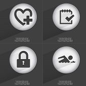 foto of tasks  - Heart with plus Task completed Lock Swimmer icon sign - JPG