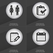 image of tasks  - Silhouette of man and woman Task completed Notebook Calendar icon sign - JPG