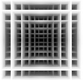 stock photo of hypnotizing  - Three dimensional background made of black and white squares which create hypnotic  illusion of deep tunnel - JPG