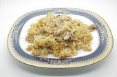 stock photo of cooked crab  - Stir fried rice with crab in dish - JPG
