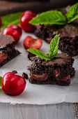 picture of cherry  - Chocolate brownies with cherries homemade with just picked cherries and mint