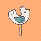 stock photo of lollipops  - Vector flat icon of round lollipop in the shape of a bird - JPG