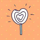 pic of lollipops  - Valentines Day lollipop flat icon on orange background - JPG