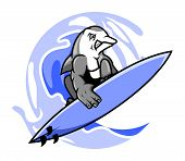 stock photo of dolphins  - A vector illustration of surfing dolphin  - JPG