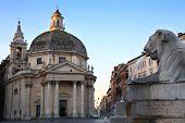 image of piazza  - Lion fountain in Piazza del Popolo  - JPG