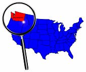pic of united states map  - Washington state outline set into a map of The United States of America under a magnifying glass - JPG