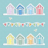 stock photo of beach hut  - A vector illustration of Beach Hut and Bunting Vector - JPG