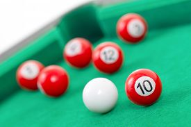 pic of snooker  - Snooker balls on a green snooker table - JPG