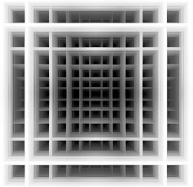 image of hypnotic  - Three dimensional background made of black and white squares which create hypnotic  illusion of deep tunnel - JPG