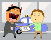 stock photo of gullible  - Vector illustration of devil salesman  - JPG