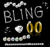 Vector Bling Diamonds and Gold Rings. Easily Write Any Word In Diamonds. Jpeg is also in my portfoli