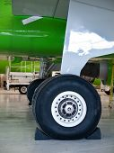 Aircraft Landing Gear Wheel Details On Stoppers Blocks