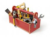 Wooden toolbox with tools isolated on white. Skrewdriver, hammer, handsaw, axe, pliers and wrench. 3 poster