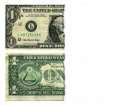 Cut Dollar Bill Concept of Inflation and The Shrinking Dollar, Real Dollar