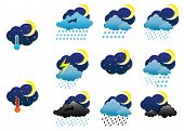 Vector. Set of night weather icons