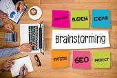 Brainstorming People Working  Group Business People Brainstorm Meeting poster