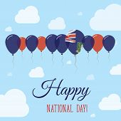 Постер, плакат: Virgin Islands British National Day Flat Patriotic Poster Row Of Balloons In Colors Of The Virgin
