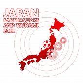 Mapa do Japão e epicentro sísmico