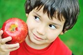 Cute kid holding red apple