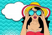 Wow Pop Art Female Face. Sexy Surprised Girl In Hat With Open Mouth Holding Binoculars In Her Hands poster