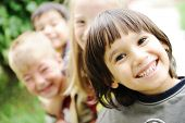 stock photo of happy kids  - Happiness without limit - JPG