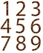 Collection of numbers, made from floral gold pattern