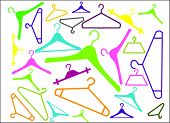 colored hangers in many shapes on white