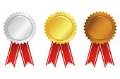 vector gold, silver and bronze award ribbons