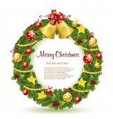 image of christmas wreath  - Christmas wreath with gold bells - JPG