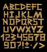 Alphabet - letters from  wooden boards with rivets. Objects over black