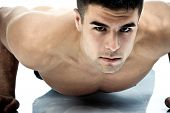 foto of muscle man  - young man athlete - JPG