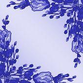 Long Stem Roses Border Blue