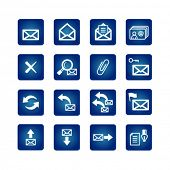 full set of mail icons on the blue background