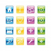 Aqua basic web icons. Vector file has layers, all icons in four versions are included.