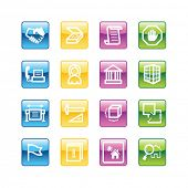 Aqua building icons. Vector file has layers, all icons in four versions are included.