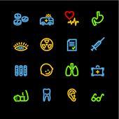 ícones da medicina de néon