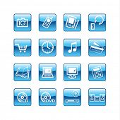 blue aqua  home electronics icons (raster)