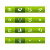 Green bar finance icons. Vector file has layers, all icons in two versions are included.
