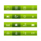 Green bar household goods icons. Vector file has layers, all icons in two versions are included.