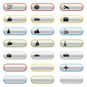 Glossy buttons with travel icons