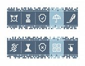 Blue dots bar with software icons. Vector file has layers, all icons in two versions are included.