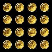 Ícones de medicina gota de ouro