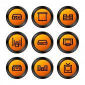 Hi-fi icons, orange circle series