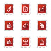 Shopping icons, red stamp series